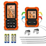 Grill Smoker BBQ Cooking Food Meat Thermometer Oven Safe - Digital Wireless Meat Thermometer for...