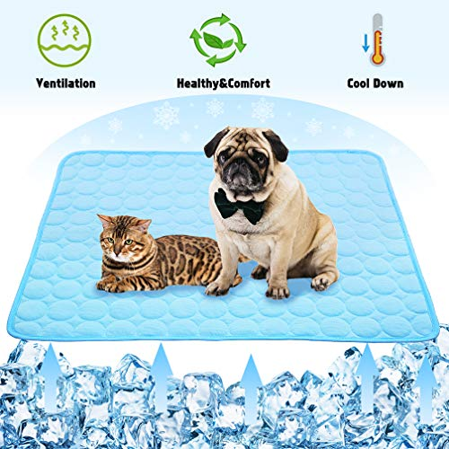 VeMee Summer Cooling Mat for Dogs Cats Ice Silk Self Dog Cooling Mat Breathable Pet Crate Pad Portable & Washable Pet Cooling Blanket for Outdoor or Home (28 X 22in, Blue)