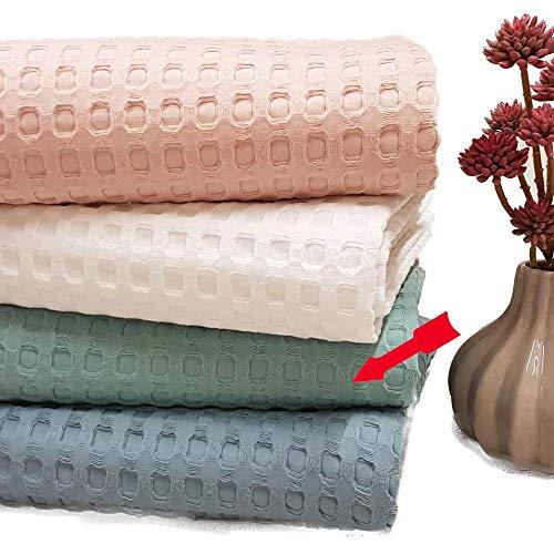 Dolcecasa Manta de piqué, Ligera, Color Verde, para Noches calurosas, tamaño: Aprox. 150 cm x 200 cm, 100% algodón Puro, Agradable al Tacto.