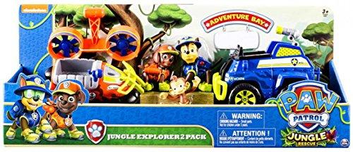 Paw Patrol Jungle Rescue – Chase Zuma, Explorateurs de la Junge – 2 Figurines Véhicules à Fonction de la Pat Patrouille