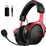 Mpow Air 2.4G Cuffie Gaming per PS5/PS4/PC Cuffie per Computer con Driver a Doppia Camera Cuffie Over-Ear con 3D Bass con Mic con Cancellazione del Rumore, Cuffie da Gioco Ultra Leggere per Switch