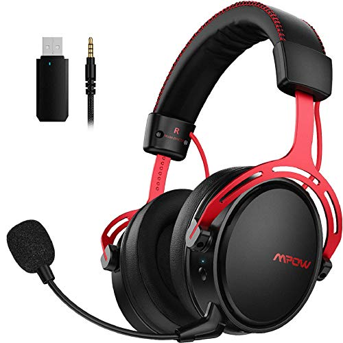 Mpow Air 2,4GHz Cuffie gaming wireless per PS4/PC, 3D Surround, Bassa Latenza 17 ore Di Utilizzo Wireless(Cablato Opzionale), Cancellazione del Rumore Microfono Cuffie gaming ps4 over-ear per Switch
