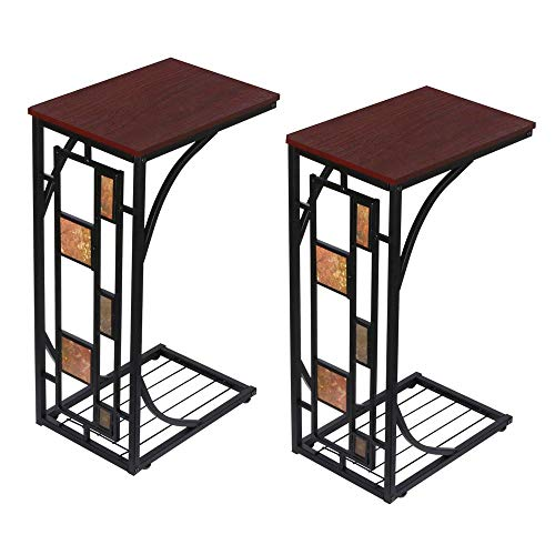 Yaheetech lot de 2 Table d'Appoint Vintage Bout de Canapé Table Basse à Café Table de Chevet pour Salon Chmabre 30,5 x 21 x 53 cm