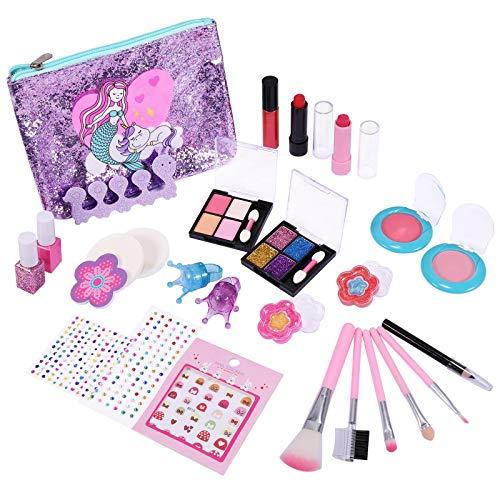 joylink Maquillaje Niñas Set, Cosméticos Juguete 27pcs Juego de Maquillaje para Niños Cosméticos Lavables Princesa Regalos de Cumpleaños y Navidad para Niños