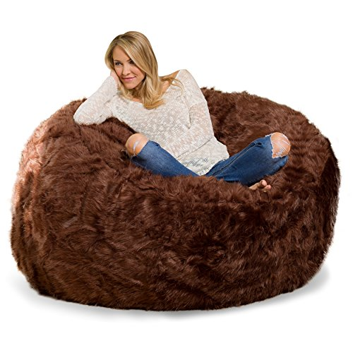 Furry Bean Bag Chair with Memory Foam