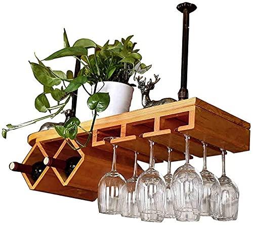 XJYXH Estante de vino, Bar, Restaurante, Colgando, Rack de copa de vino, Metal, Copa de vino europea de vino Copa de vino Titular de copa, Bronce, 80 * 28 cm