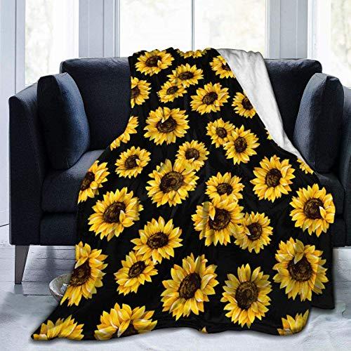 Sunflower Flannel Fleece Bed Blanket Throw Blanket Lightweight Cozy Plush Blanket for Bedroom Living Rooms Sofa Couch 80'x60'