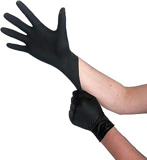 Wegwerphandschoenen zwart latex, wegwerphandschoenen M, 100 stuks, poedervrij, handschoenen wegwerp, latexhandschoenen zwa...