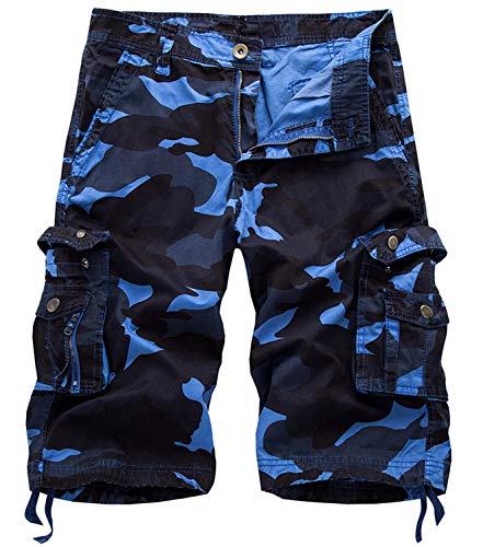 Fanient Herren Cargo Shorts Baumwolle Bermuda Vintage Casual Camo Kurz Hose Blau