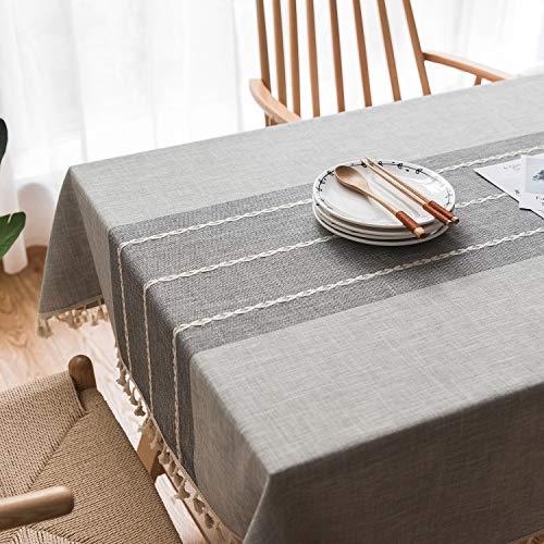 Topmail Mantel de Mesa con Borlas para Comedor, Mantel Rectangular Impermeable Antimanchas de Algodon y Lino, Mantel para Mesa Resistente al Aceite Patron Raya, Gris 140x180cm
