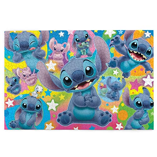 FT FENTENG Cozy Challenge Wooden Picture Puzzle for Kids Adults Families, Li-Lo & Sti-Tch Baby Anime 1000 Piece Jigsaw Puzzle, Educational Toys Puzzle Game Ideal for Home Decoration