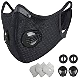 HONGYAO Reusable Dust Breathing M Earloop Dust M with Activated Carbon Filter and Valves for Allergy, Woodworking, Mowing, Outdoor Activities, Etc(Black)