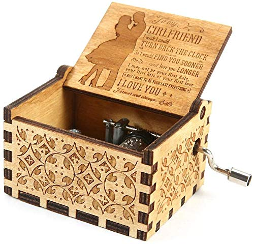 (to Girlfriend) You are My Sunshine Wood Music Boxes,Laser Engraved Vintage Wooden Sunshine Musical Box Gifts