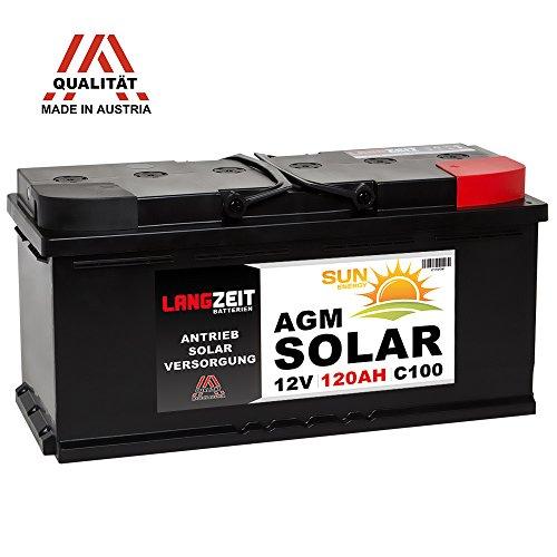 Solarbatterie 12V 120AH AGM Gel Batterie Wohnmobil Versorgungsbatterie Boot Solar Akku 100Ah 120Ah (120AH)