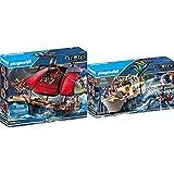 Playmobil Pirates Playset Barco Pirata Calavera, Multicolor (70411) + Pirates Bastión, A Partir De 5 Años, 70413