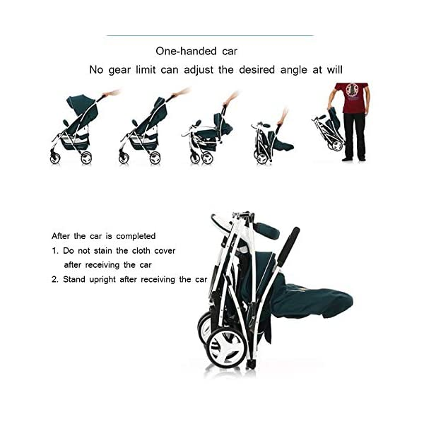 JXCC Baby Stroller Can Sit Reclining Simple Mini Aluminum alloy Stroller Folding Four Seasons Portable Shock absorber Super Child Baby Stroller from 0-36 months -Safe And Stylish Green JXCC 1. Can sit and recline, adjust the angle of 0-180 degrees, suitable for various situations 2. One-button removal, easy to clean, 5 parts can be removed 3. Two-wheel parallel connection, stable shock absorption, front wheel double suspension, single wheel double brake. 8