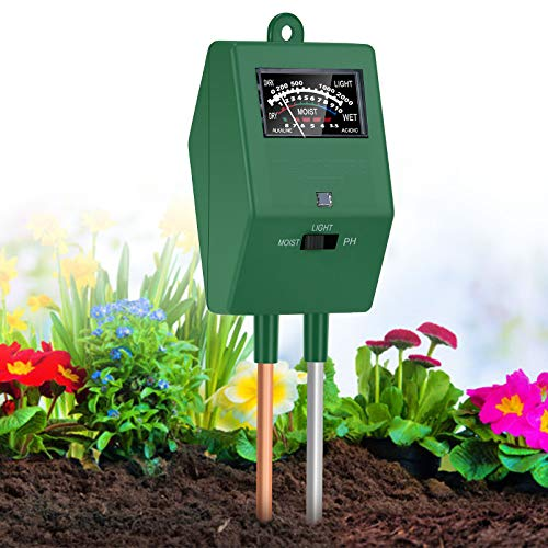 XDDIAS Medidor de Suelo,3 en 1 Probador de Suelo Luz/Humedad/pH para Planta Jardín Granjas Suelo Flor Césped en Interior y Exterior