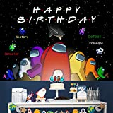 Among Us Backdrop Happy Birthday Party Decorations Background Game Friend Theme Party Supplies Banner Cake Table Decor Vinyl Photography Backdrop for Adults Kids (5X3Ft, Color-1)