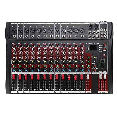 Mesas de Mezclas, Mezclador Audio Consola de Mezcla de Audio Bluetooth DJ con USB MP3 Jack 12 Canales Professional Amplificador de Karaoke Profesional 48V Phantom Power