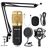 ZINGYOU Condenser Microphone Bundle, BM-800 Mic Kit with Adjustable Mic Suspension Scissor Arm, Metal Shock Mount and Double-layer Pop Filter for Studio Recording & Broadcasting (Gold) (Renewed)