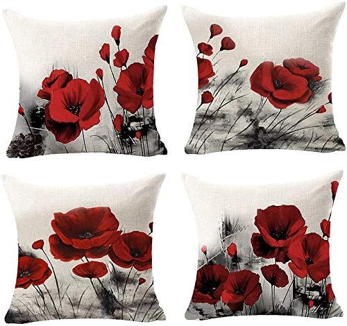 Beatete - Set di 4 federe decorative per cuscini quadrati con pittura ad acquerello, motivo papavero rosso, in tela di cotone