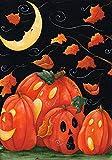 Toland Home Garden Scary Night 28 x 40 Inch Decorative Spooky Jack O Lantern Pumpkin Halloween House Flag