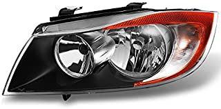 For BMW 3 Series E90 Sedan Halogen Type Black Driver Left Side Front Headlight Head Lamp Replacement