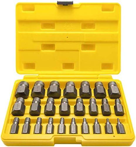 LANNIU Juego de 25 extractores de tornillos, cabeza hexagonal, juego de extractores de pernos de extracción fácil, acero de alto carbono de alta calidad