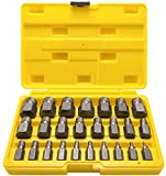 LANNIU 25Pcs Screw Extractor Set, Hex Head Multi-Spline Easy Out Bolt Extractor Set, Premium High Carbon Steel Rounded Bolt Remover