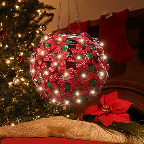 Alpine Corporation QLP924SLR-RD Solar Christmas Hanging Poinsettia Ornament with LED Light Indoor and Outdoor Festive Holiday Décor, 8-Inch, Red