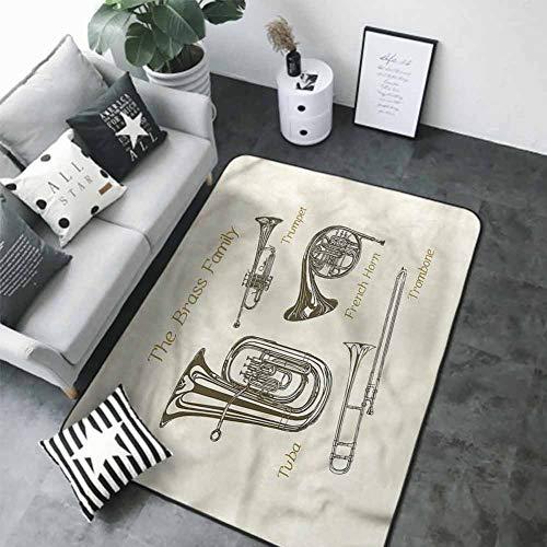 "Bathroom Carpet Music,Tuba Trumpet Trombone Brass 80""x 120"" Best Floor mats"