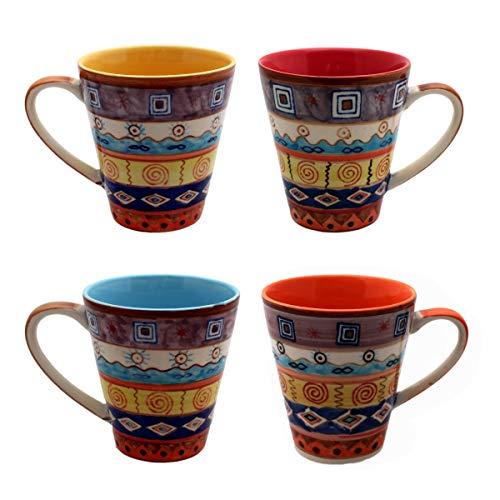 Gall&Zick Taza de café taza de té vajilla cerámica pintada multicolor, cerámica, Juego de 4 unidades.
