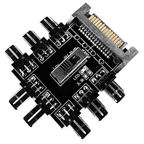Fan Hub - 8X Lüfter | SATA Power 3-Pin Fan 8 Port Controller Splitter Lüfter-Hub für Gehäuselüfter | optimale Kühlung für Ihr Gehäuse und PC-Hardware