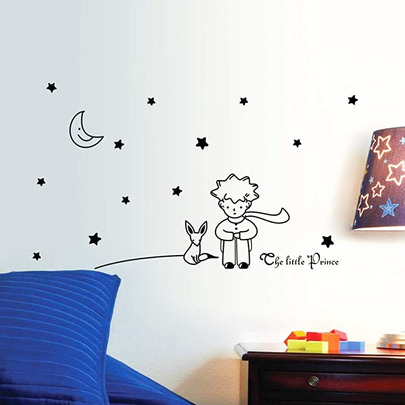 MaxLight Popular Book Fairy Tale The Little Prince With Fox Moon Star Home Decor Wall Sticker For Kids Rooms Baby Child Birthday Gift Toy Black