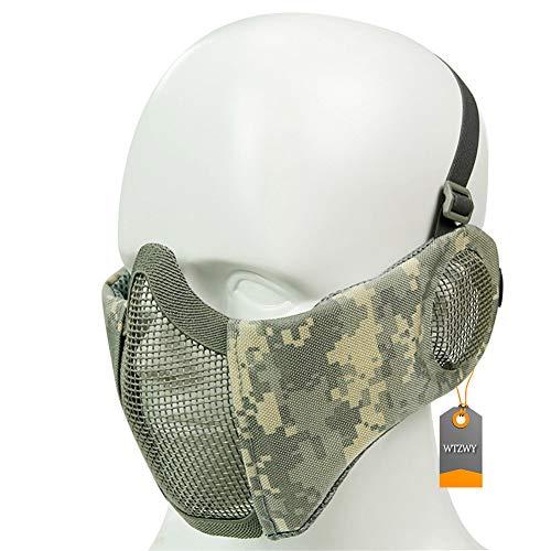 WTZWY Tactical Half Face Mesh Mask - Einstellbare Faltbare Airsoft-Maske mit Ohrabdeckung, schützender Unterschutz für Paintball CS BBS-Aufnahmen,ACU