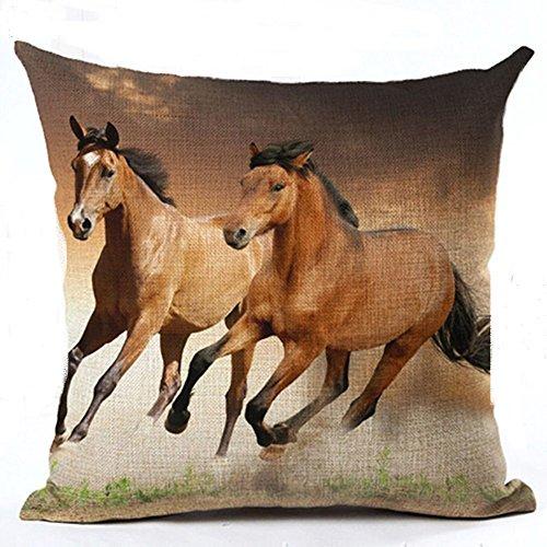 good01 Housse de coussin à motif de cheval à l'aquarelle motif tendance et décoratif, Lin, 6, 6. Horse Running