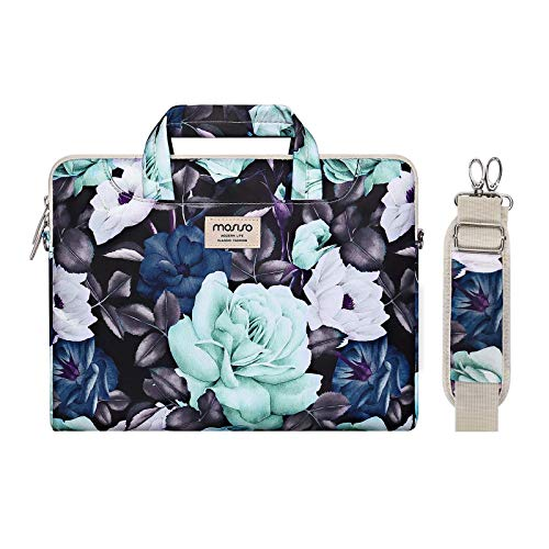 MOSISO Laptop Shoulder Bag Compatible with 13-13.3 inch MacBook Pro, MacBook Air, Notebook Computer, Succulent Carrying Briefcase Sleeve Case with Trolley Belt