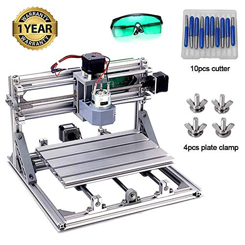 DIY CNC Router Kits 2418 GRBL Control 3 Axis Plastic Acrylic PCB PVC Wood Carving Milling Engraving Machine, XYZ Working Area 240x180x45mm CNC Router Machine By Beauty Star