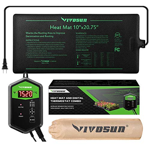 VIVOSUN 10'x20.75' Seedling Heat Mat and Digital Thermostat Combo Set MET Standard