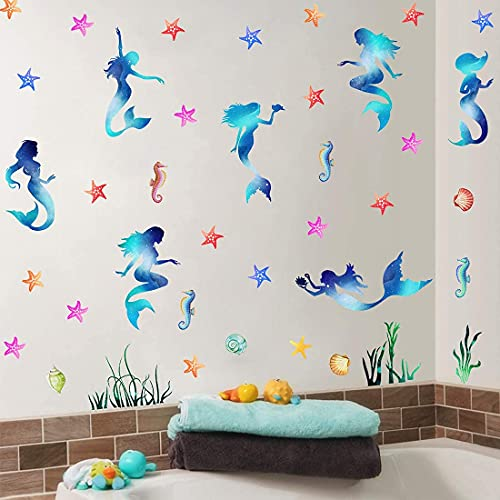 KAIRNE Wandsticker Unterwasserwelt Kinder, Wandtattoo Meerjungfrau für das Kinderzimmer, Mädchen Wandaufkleber Badezimmer Babyzimmer Schlafzimmer Wanddeko, Seepferdchen Seestern Fliesen-Aufkleber