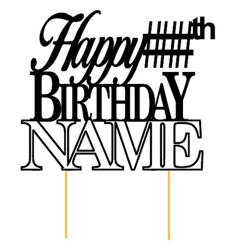 All About Details Customized Happy Birthday Cake Topper With AGE & NAME (D1)