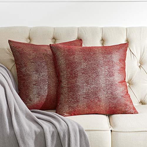 OMMATO Funda de cojín de terciopelo, 50 x 50 cm, color burdeos, rojo y plateado, con impresión, decorativa, para sofá, dormitorio, salón, 2 unidades