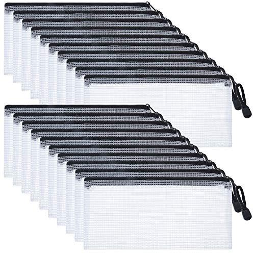 metagio Reißverschlusstasche, 20 Stück Zipper File Taschen Dokumententaschen Zip Tasche Zip Beutel Mesh Bag mit Reißverschlus, A6 Zipper Tasche für Dateiordnung, Kosmetikwaren