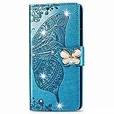 Funda para Huawei P40 Lite, de piel sintética, brillante, con gemas en 3D, diseño de mariposas, diamantes de imitación, con hebilla, soporte para tarjetas, función atril, para Huawei P40 Lite, azul