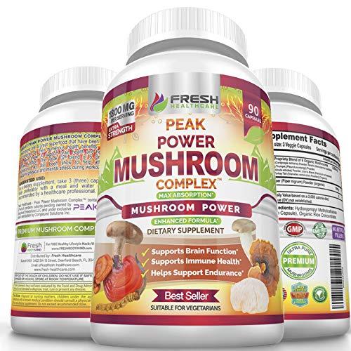 Premium 6 Mushroom Immune Support Supplement, 90 Vegan Capsules of Peak Power Complex with Lions Mane, Cordyceps, Reishi, Turkey Tail, and Shiitake Mushroom Complex for Brain, Stamina, Stress Support