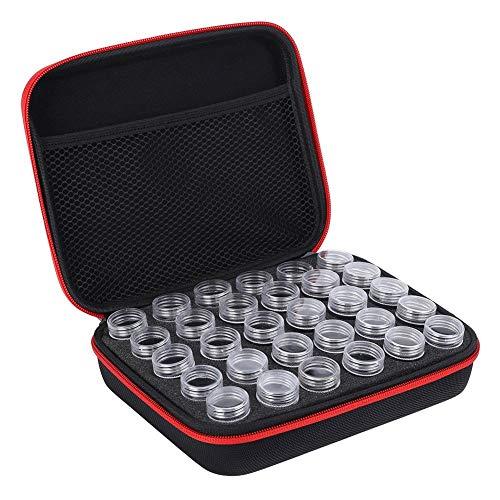 Fditt 30 ranuras Diamante Bordado Caja Diamante Accesorios Herramienta Plástico Punto Cruz Contenedor Almacenamiento Macetas Aceite Esencial Botella (Red)