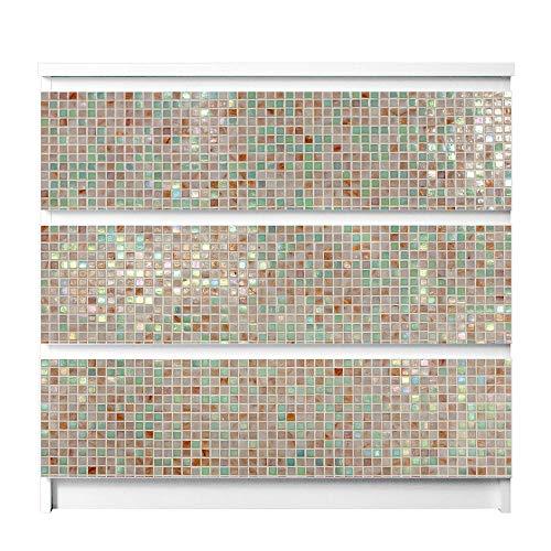 banjado Möbelfolie passend für IKEA Malm Kommode 3 Schubladen | Möbel-Sticker selbstklebend | Aufkleber Tattoo perfekt für Wohnzimmer und Kinderzimmer | Klebefolie Motiv Grüne Fliesen