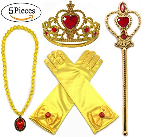Alead Princess Belle Dress Up Party Accessories Gloves, Tiara, Wand and Necklace, Yellow, Set of 4