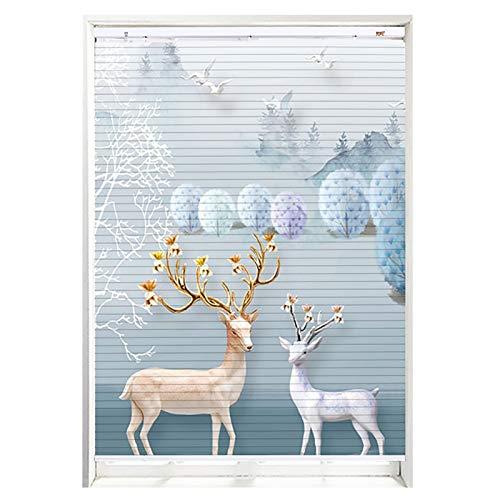 JH1 Persianas enrollables y estores Sala De Estar Luz Filtrado Ventana Persianas, 3D HD Deer Print Innámico Aluminio Metal Persianas Venecianas 48 Tamaños (Size : 135×160cm)