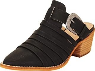 Cambridge Select Women's Pointed Toe Strappy Western Buckle Slip-On Chunky Block Mid Heel Mule